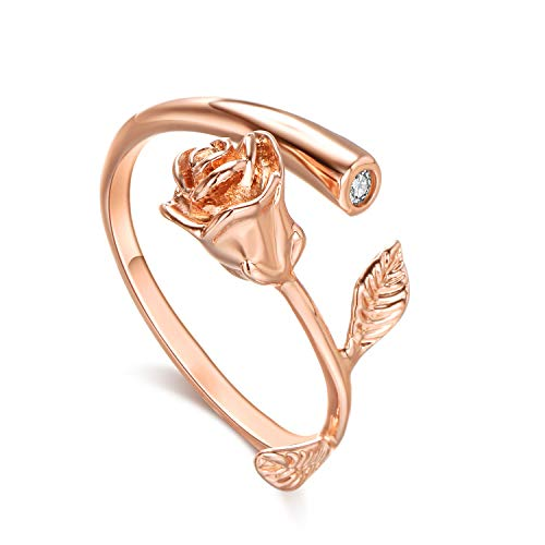 Rose Adjustable Ring - Lateefah 18k Rose Gold Ring for Women Flower Rings Adjustable Zircon Open Ring for Weding Gold Proposal Ring Best Gifts for Mother's Day and Valentine's Day