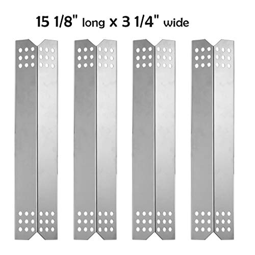 YIHAM KS739 Heat Shield Plate for Master Forge 1010048 Grill Replecement Parts, Burner Cover Flame Tamer, 15 1/8 inch x 3 1/4 inch, Stainless Steel, Set of 4