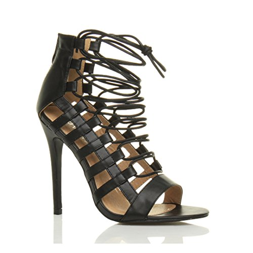 Matte Shoes Ajvani Size Ghillie Black High Women Heel Sandals 8wpqF8