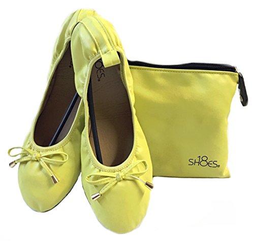 Shoes8teen Kvinna Vikbara Ballerina Balett Lägenheter W / Bow 15 Färgerna Gult 1180