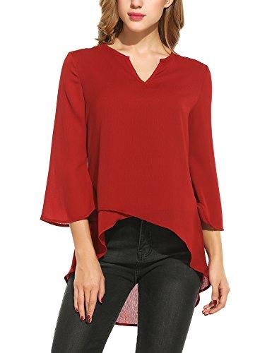 Meaneor Women's Chiffon Blouse V Neck 3 4 Sleeve Top Shirts Red (Layered Chiffon)