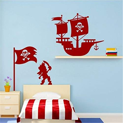 Ouvya Mural Saying Wall Decal Sticker Art Mural Home Decor Quote French Navire, Drapeau et Pirate Ship, Flag and Pirate