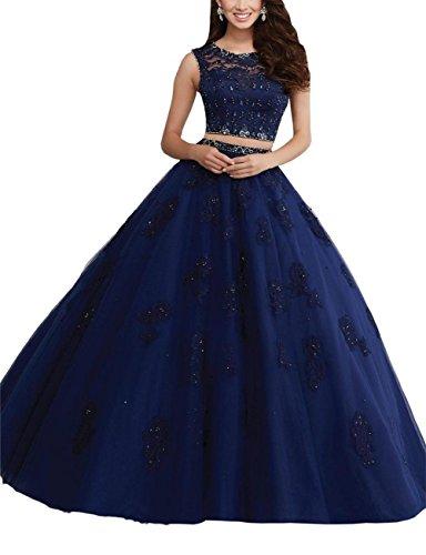 Lacy zweiteiliges Aufnäher Damen Ballkleid Kristall aufreihmaterialien Jewel Marineblau engerla Kleid Quinceanera Rückseite Sheer qXpYwxTx0
