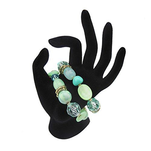 BOCAR Aquamarine Blue Green Beads Antique Gold Bracelet Statement Multilayer Women Cuff Bangle (BR-1116) (Antique Womens Beads)