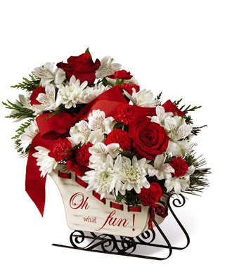 Christmas Sleigh Fun - eshopclub Same Day Christmas Flower Delivery - Online Christmas Flowers - Christmas Flowers Centerpiece - Send Christmas Centerpiece by eshopclub