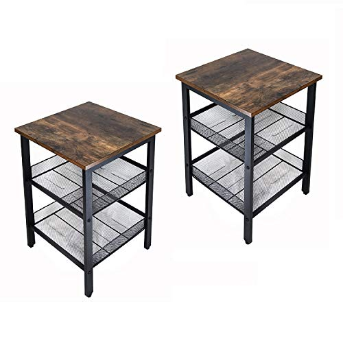 JPNTOYE 2PCS Industrial Nightstand with Stable Metal Frame, End Table with Mesh Shelves for Living Room, Bedroom Wood Look Accent Furniture, Rustic Home Decor, Vintage Brown