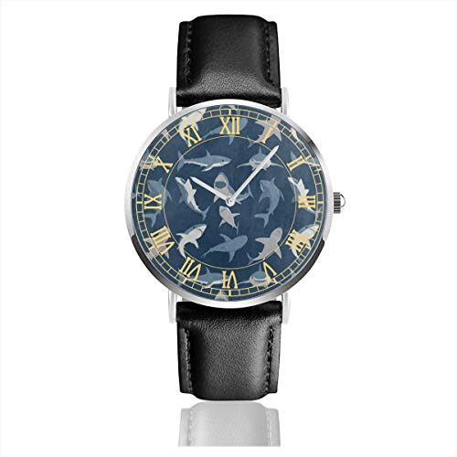 - Blue Ocean Sea Shark Fish Mens Watches Chronograph Sports Watch Water Resistance Quartz Black Clock Business Wristwatch with Leather Strap Watch for Women Girls Boys 38mm/1.5