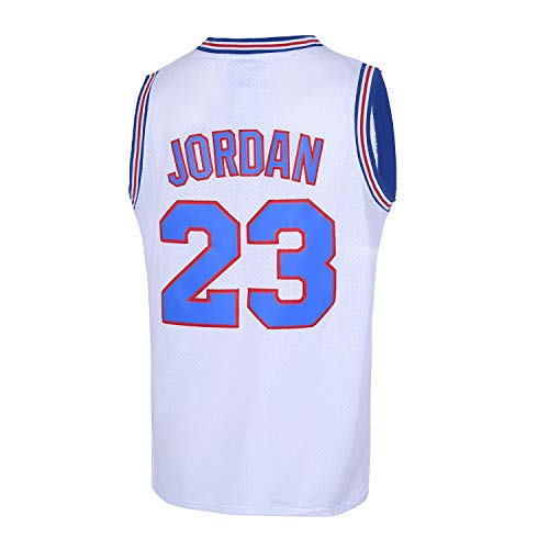 CAIYOO Mens 23# Space Movie Jersey Basketball Jersey S-XXL White/Black