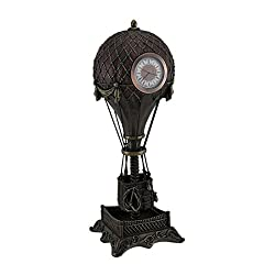 Resin Table Clocks Time Flies Steampunk Hot Air Balloon Clock Tower Statue 12 Inch 4.25 X 12 X 4.25 Inches Bronze