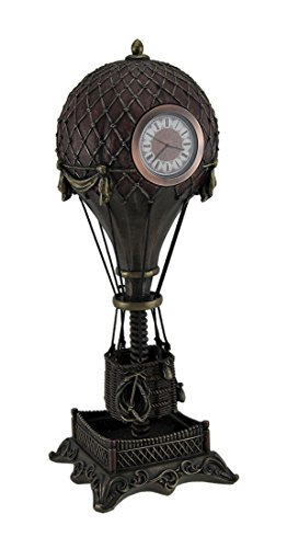 (Resin Table Clocks Time Flies Steampunk Hot Air Balloon Clock Tower Statue 12 Inch 4.25 X 12 X 4.25 Inches Bronze)