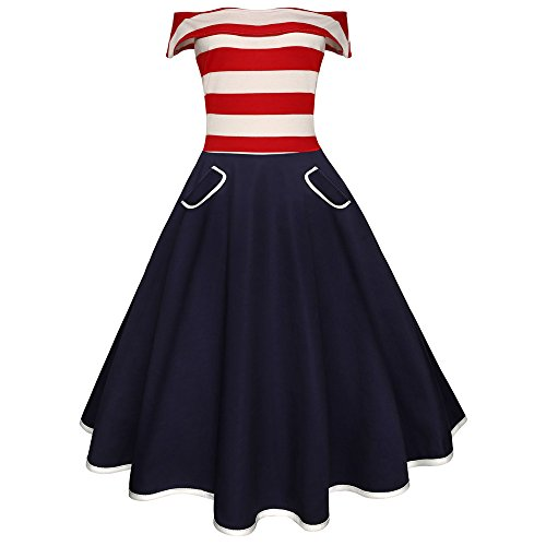 CapsA Women's Vintage Tea Dress V-Neck Amrrican Flag Printing Evening Party Prom Swing Dress Navy