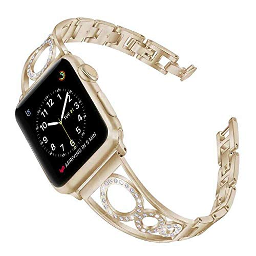 elecfan Stainless Steel Band Strap Compatible Apple Watch 38mm 40mm with Watch Lugs Shining Rhinestone Stainless Watch Band for Apple Watch Series 1 Series 2 Series 3 Series 4,Gold