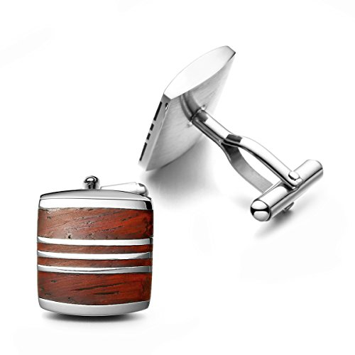 PenSee Rare Stainless Steel & Red Wood Cufflinks for Men with Gift Box ()