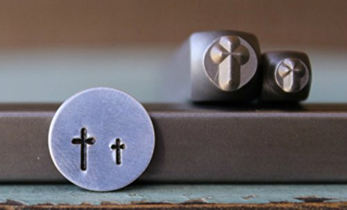 Religious Jewelry Designs - 2 Stamp (5mm and 3mm) Simple Religious Cross Metal Punch Design Jewelry Stamp Set