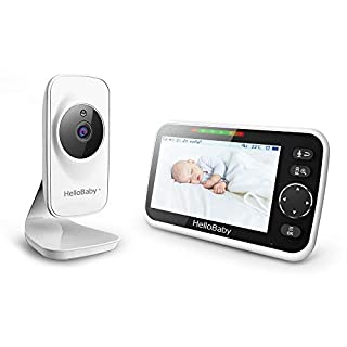 """Video Baby Monitor with Camera and Audio, 5"""" Color LCD Screen, HelloBaby Monitor Camera, Infrared Night Vision, Temperature Display, Lullaby, Two Way Audio and VOX Mode, HB50"""