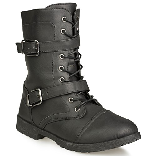 Twisted Women's Ainsley Fashion Military Boot - BLACK, Size 8 (Womens Military Boots)