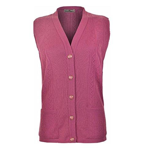 maniche maniche a a a gilet Dusty donna Cardigan maglia da senza Pink Saqq7T