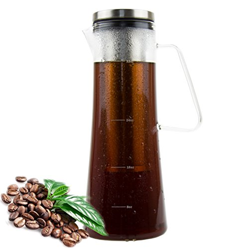 Cold Brew Coffee Maker | Coffee &Tea Pitcher, Tea Infuser, 1.0L / 34oz Glass Carafe, BPA Free, Odor & Stain Free, Ergonomic Spout, Removable Stainless Steel Filter.