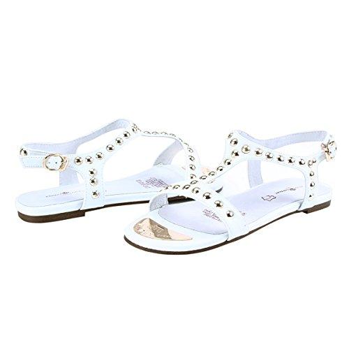Damara Womens T-strap Suede Klinknagels Ornament Flats Sandalen Wit