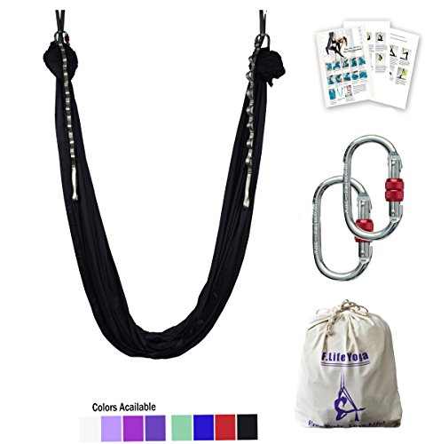 F.Life Aerial Yoga Hammock 5.5 Yards Include Daisy Chain,Carabiner and Pose Guide (Black)