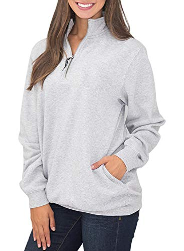 Diukia Women's Long Sleeves Collar Quarter 1/4 Zip Solid Hoodies Fleece Pullover Sweatshirts with Pockets(S-2XL) Gray