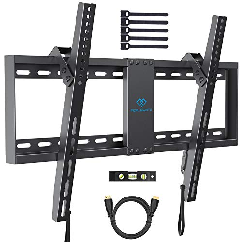 PERLESMITH Tilt Low Profile TV Wall Mount Bracket for Most 32-70 inch LED, LCD, OLED and Plasma Flat Screen TVs - Fits 16