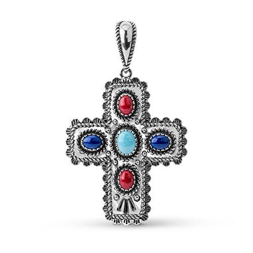 American West Sterling Silver Multi Gemstone Cross Pendant