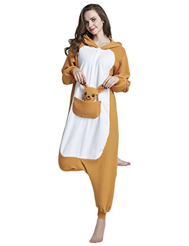 Kangaroo Costume (KING FUN Unisex Adult Pajamas Kangaroo Onesie Animal Cosplay Homewear Costume Large A5)