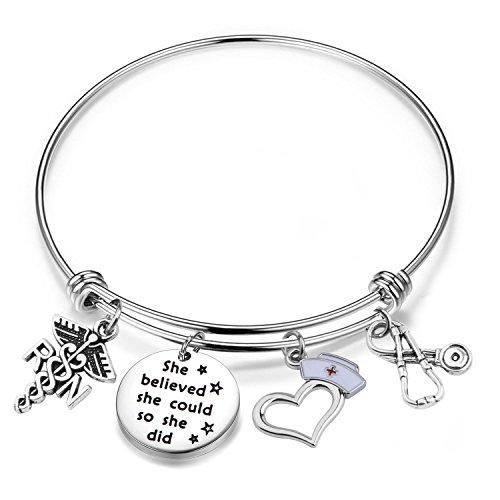 Lywjyb Birdgot Nurse Graduation Gift She Believed she could so she did RN Nurse Bracelet Gift for Her (RN Nurse Bracelet)