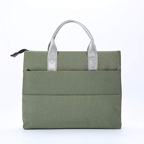 Fashion Casual Portable File Bag A4 Zipper Bag Cotton Portable Briefcase Business Office Meeting Bag Promotional Information Bag (Color : Dark Green)