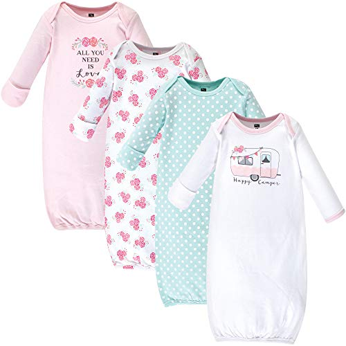 Hudson Baby Unisex Baby Cotton Gowns, Pink Happy Camper, 0-6 Months