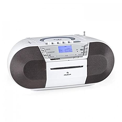 Radio FM Radiocasete est/éreo port/átil Sintonizador VHF Reproductor CD MP3 Blanco Puerto USB auna Jetpack AUX Funcionamiento con Pilas Opcional