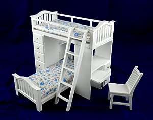 Juego de mobiliario de dormitorio de literas, escritorio y sillas en miniatura para casa de muñecas 5358