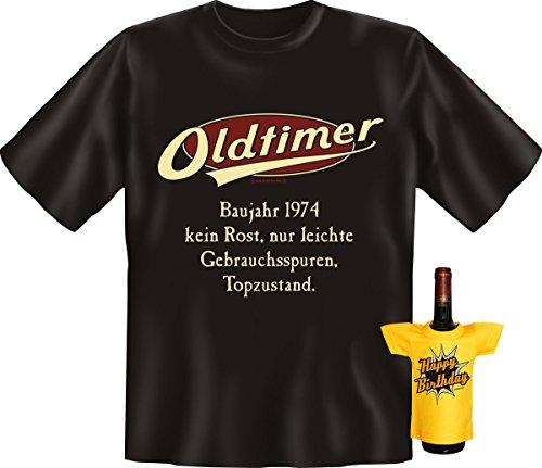 Modisches Herren Fun-T-Shirt als ideale Geschenkeidee im Set zum 42. Geburtstag + Mini Tshirt Baujahr 1965 Farbe: schwarz