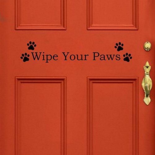 - YINGKAI Wipe Your Paws Pet Dog Door Vinyl Decal Sticker Family Kids Welcome Home Door Lettering Quote Pet Decal Pet Store Grooming Shop Vets Office Decoration