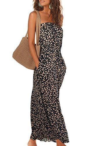 Alaster Queen Women's Bandeau Black Floral Print Dress Summer Strapless Boho Beach Long Maxi Dress with Pockets