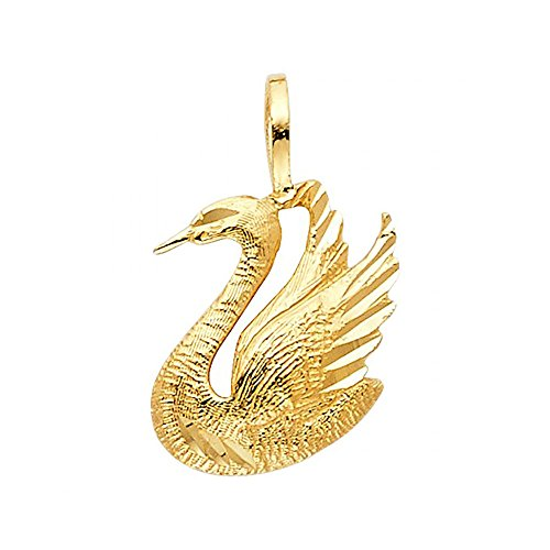 - American Set Co. 14k Yellow Gold Swan Pendant Charm