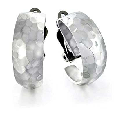 Bling Jewelry Hammered Sterling Silver Half Hoop Clip On Earrings Alloy Clip free shipping