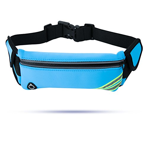 Running Belt Waist Pack, Water Resistant Adjustable Runner Bounce Free Belt Pouch for iPhone X 8 7 Samsung Note Galaxy LG Huawei Google for Men/Women's Outdoor Sports/Running/ Hiking/Cycling, Blue