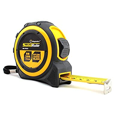 Professional Quality Tape Measure Magnelex SolidRule For Construction, Home Use, Hobbies, DIY, Smooth Sliding Nylon Coated Measuring Tape Ruler, Strong Belt Clip, Rubber Covered Case - 26-Foot (8m)