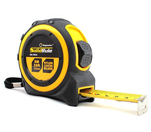 (Tape Measure 26-Foot (8m) by Magnelex, Inches and Metric Measuring Tape for Construction, Home Use and DIY, Smooth Sliding Nylon Coated Ruler, Strong Belt Clip, Impact Resistant Rubber Covered Case)