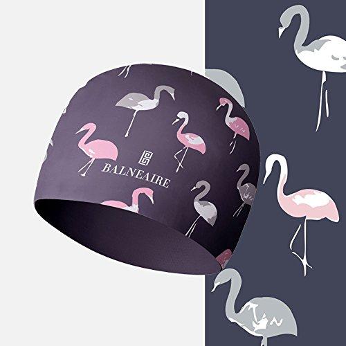 BALNEAIRE Silicone Swim Cap for Women Waterproof Long Hair Swimming Caps Flamingo Printed