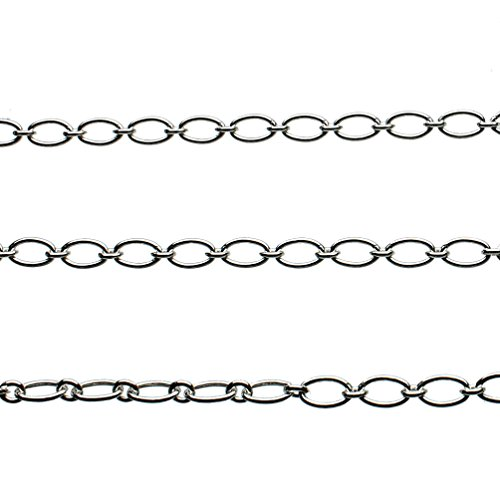(Sterling Silver Circle Oval Links Chain 1+1 Italy Unfinished Bulk 10 Feet)