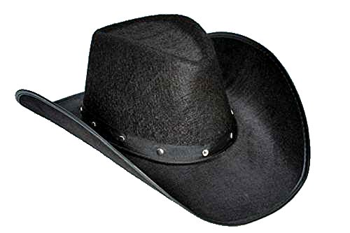 JACOBSON HAT CO. BLACK COWBOY TEXAN HAT WITH STUDS (Adult Black Cowboy Hat)