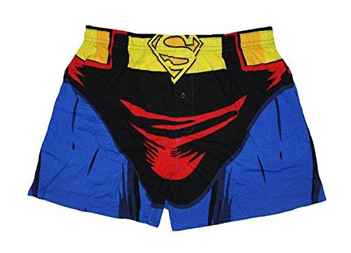 DC Comics Batman Boxer, Superman Boxer Superhero Knit Boxer Shorts (Large, Superman Blue)