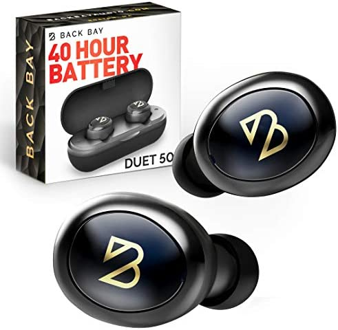 Duet 50 True Wireless Earbuds Bluetooth 5.0 Featured in Rolling Stone, Forbes 40 Hour Long Battery Life with Charging Case. Sweatproof Truly Wireless APTX Headphones for Running. TWS Microphone for