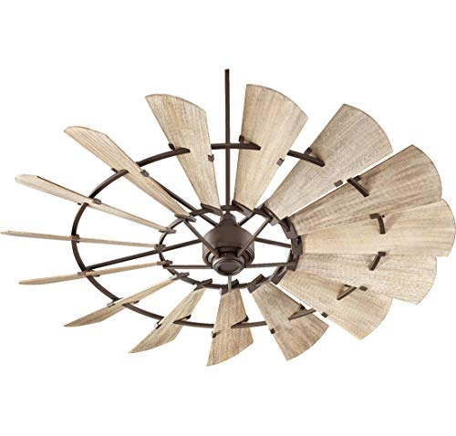 Quorum 97215-86 Indoor Windmill Ceiling Fan in Oiled Bronze with Weathered Oak Blades ()