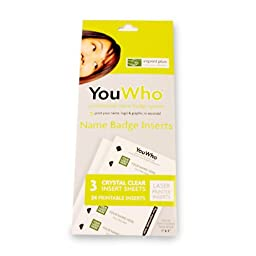 YouWho Professional Name Badge Insert Sheet Pack (Crystal Clear/Laser)