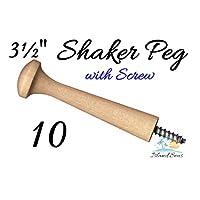 "10-3½"" Wood Peg with Screw - Birch Shaker Style Wooden Screw-in Shaker Pegs Screw- on Hanger-Bolt Hat Rack"