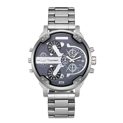 VAXT Take 6820 Fashionable Business Style Large Dial Double Time Zone Quartz Movement Wrist Watch with Stainless Steel Band & Calendar Function for Men (SKU : Wa0024d)